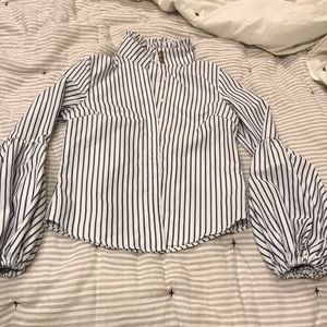 Tall collar button up blouse with puffy sleeves